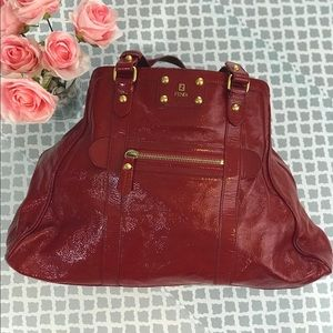 Fendi Red Patent Leather Tote Bag